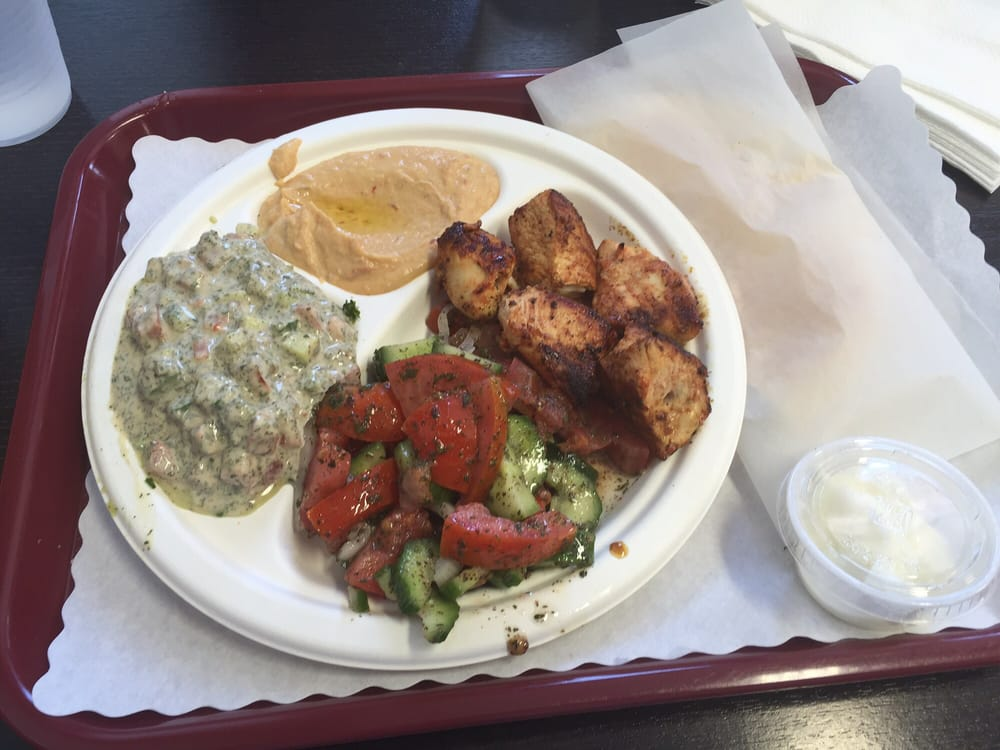 Chicken Kebab With Spicy Hummus Mediterranean And Tahini Salads With No Rice Awesome Yelp