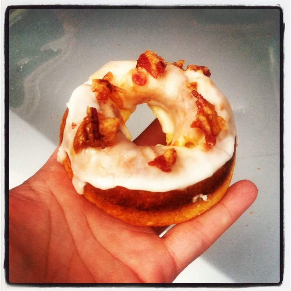 Gypsy Donut & Espresso Bar - Nyack, NY, United States. Maple glazed bacon donut. Yummmm!