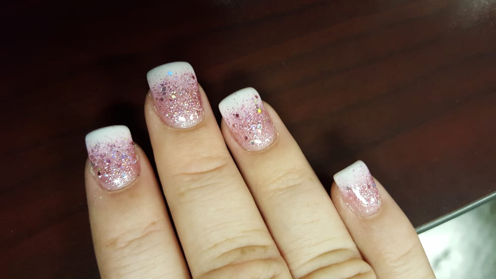 French tip fade with pink glitter fade. gel $41 - Yelp