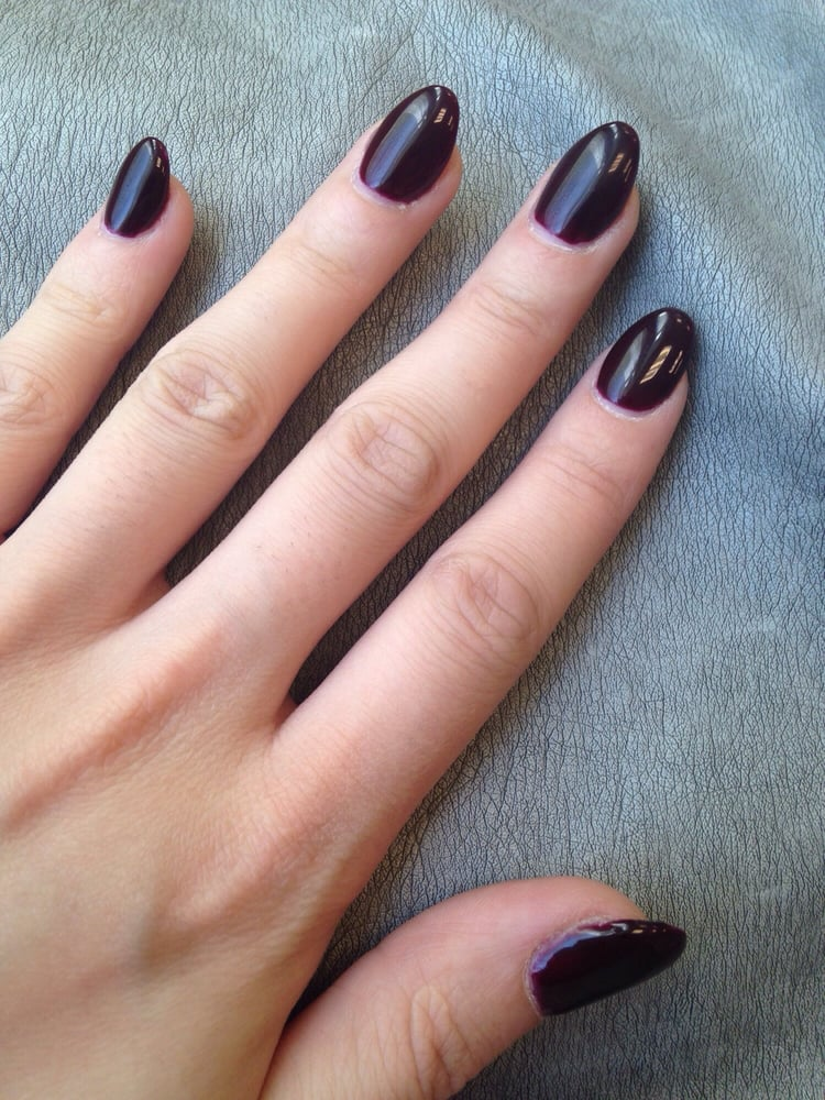 Perfect almond-shaped acrylic nails with dark lacquer - Yelp