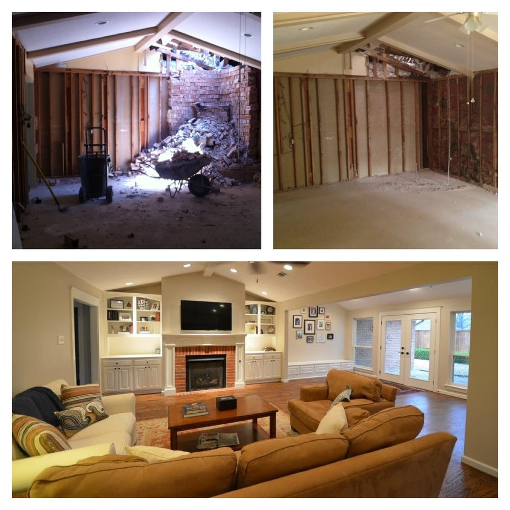 Building Demolition Before And After : Before and after of living room during construction