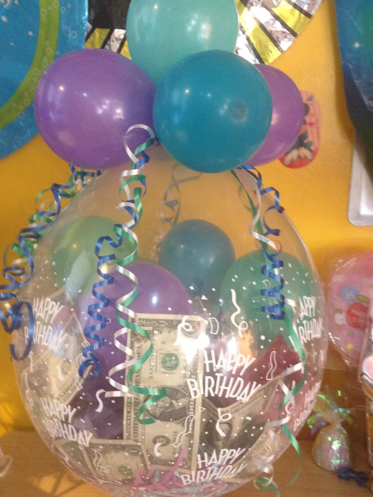 Money In A Balloon Bring Your Gift To Us We Ll Wrap It In