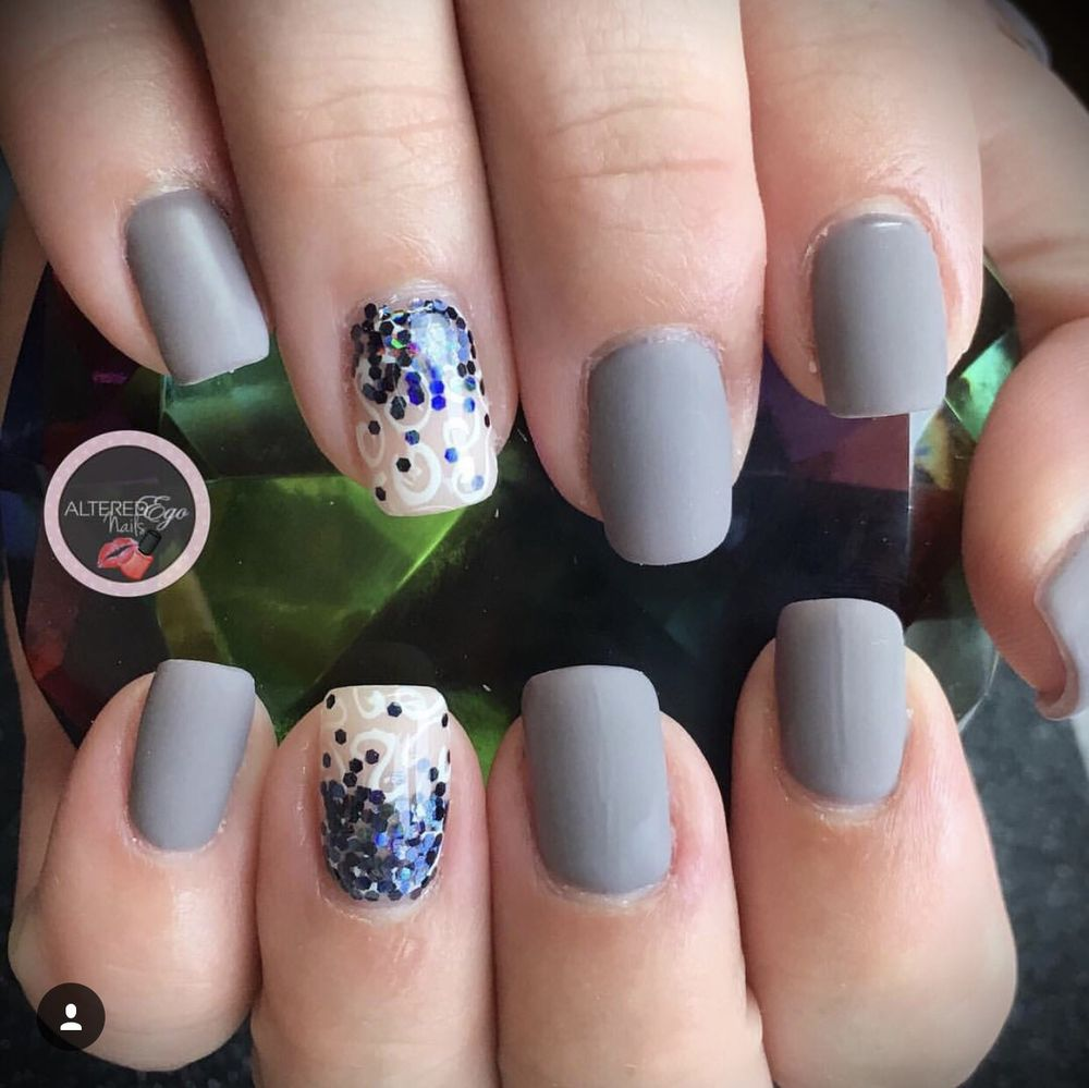 Hard gel square nails with matte gel polish, custom glitter and ...