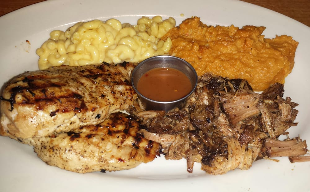 Photo of Wood Ranch BBQ & Grill - Rancho Santa Margarita, CA, United States - Grilled Chicken Breast (no Bbq), Pulled Pork (no Bbq), Mashed