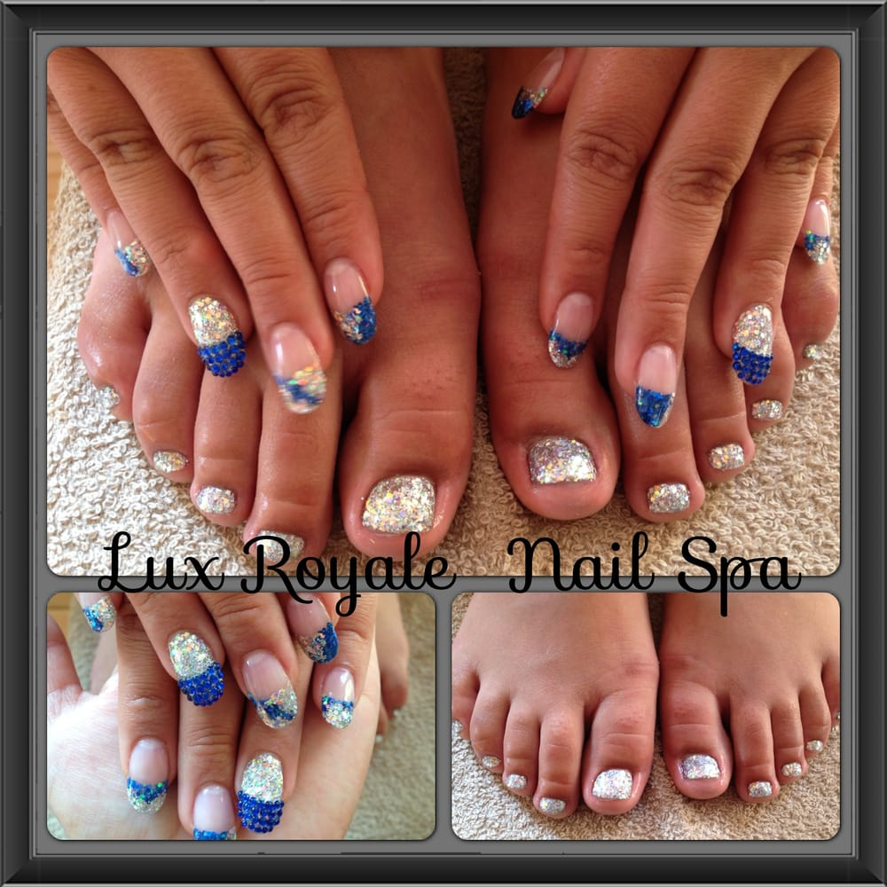 Acrylic Glitter Nails and Toes for Quinceanera (15th B,Day