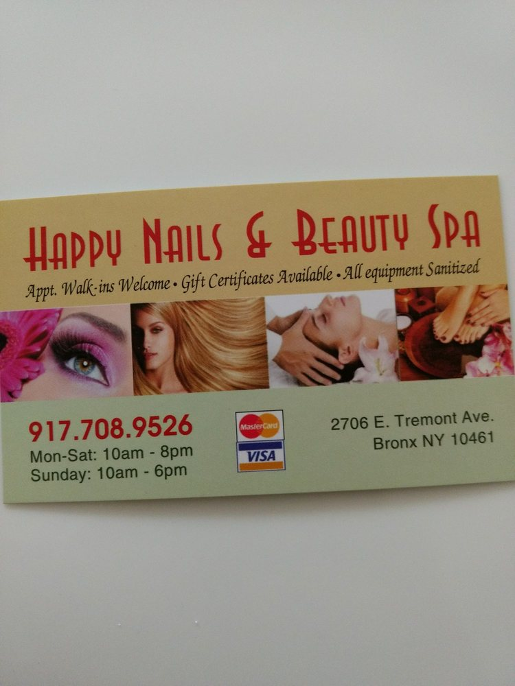 Happy Nails & Beauty Spa: 2706 E Tremont Ave, Bronx, NY