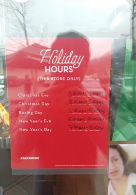 Starbucks Christmas Hours.Starbucks Coffee Tea 1200 Hunter Place Squamish Bc