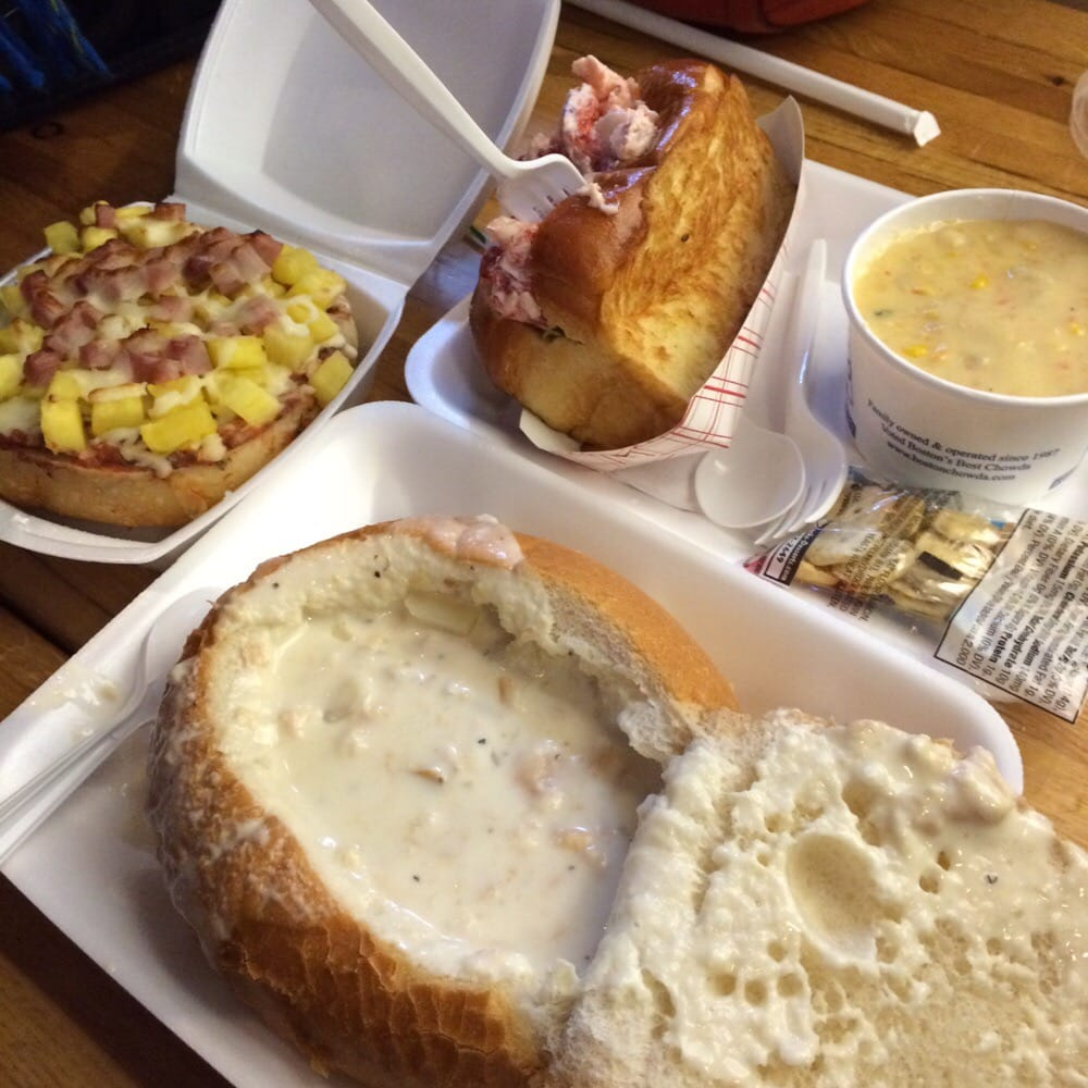 Hawaiian pizza bagel: meh, lobster roll, clam chowder in bread bowl: so good! , and shrimp and ...