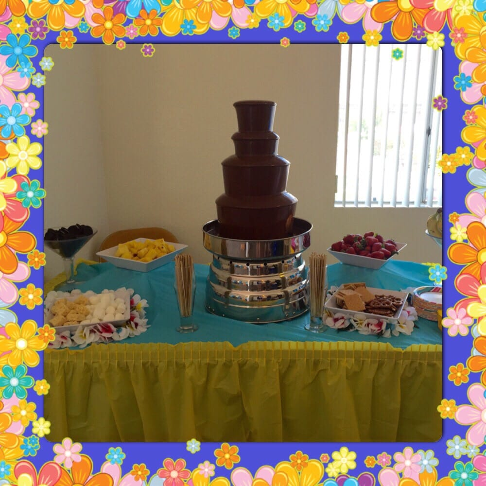 Our Beautiful Chocolate Fountain Table With 8 Different Goodies To