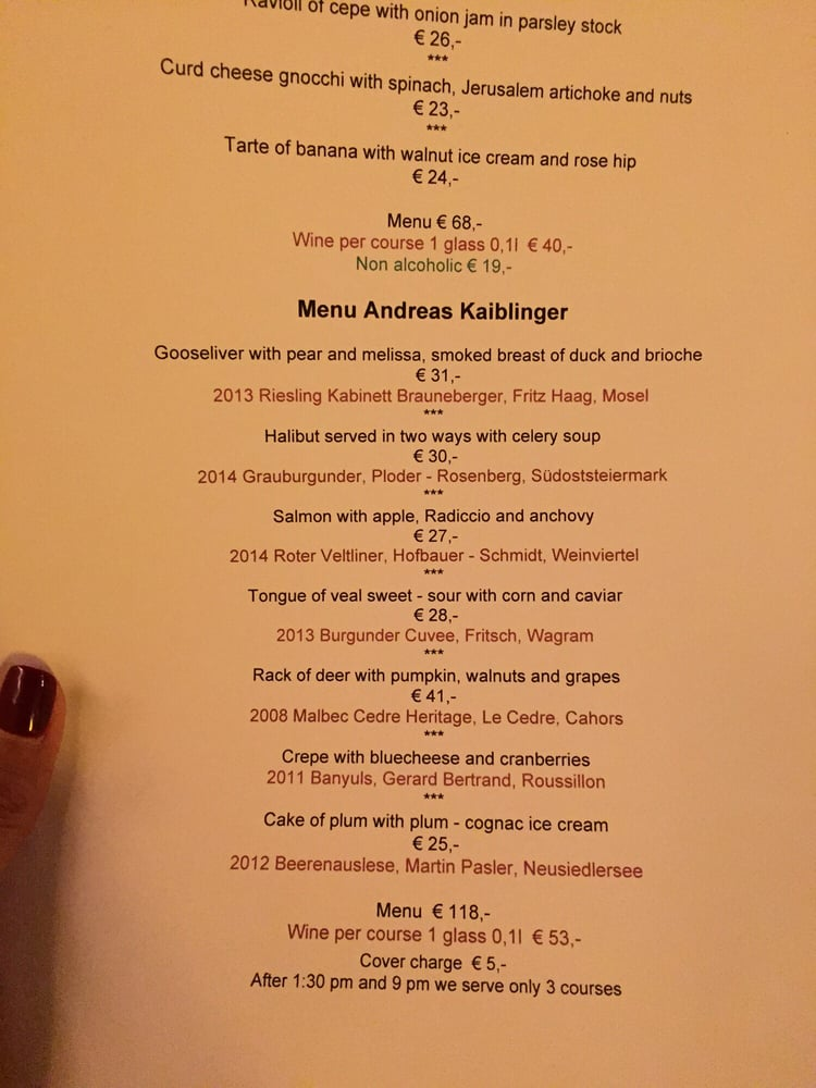 menu andreas kablinger - not a bad value for the tasting! - yelp, Esszimmer dekoo