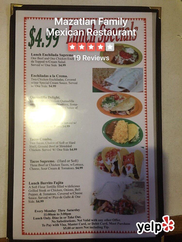 Mazatlan Family Mexican Restaurant: 1900 Hilco St, Albemarle, NC