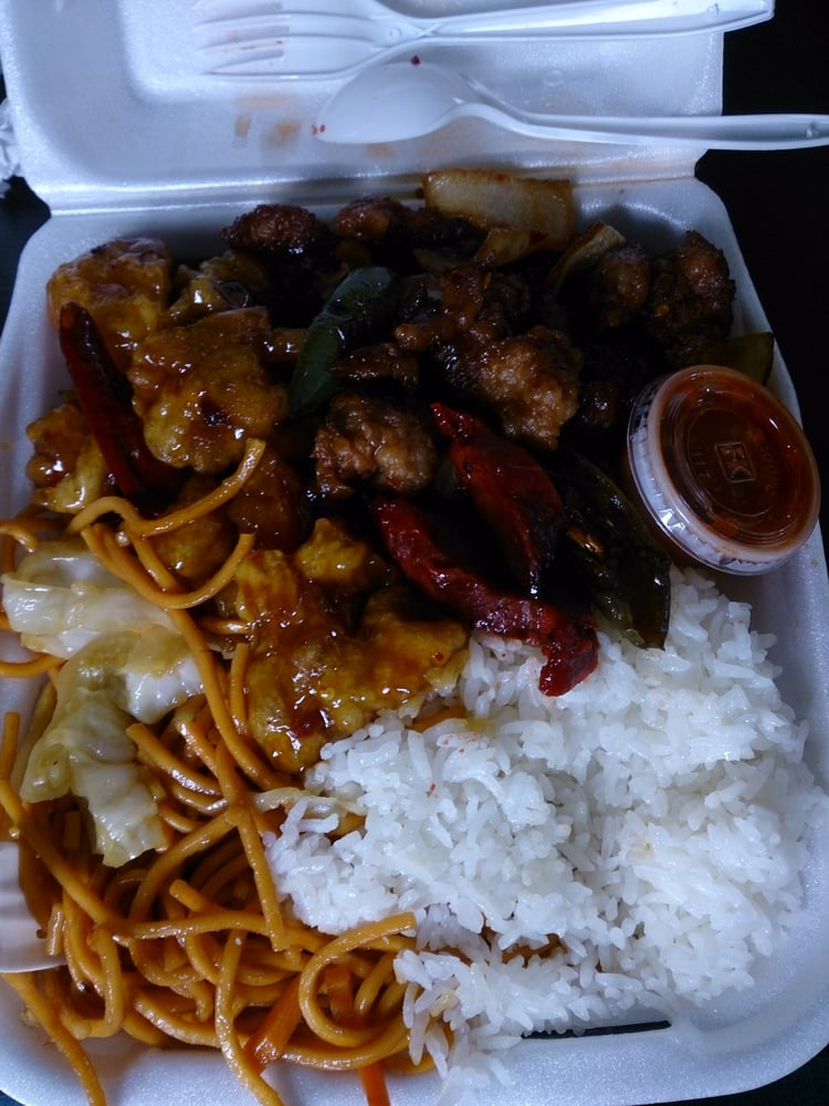 Chow mein steamed rice orange chicken and spicy chicken for Asian cuisine express