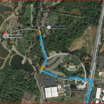 States park on castaneda dr and walk across the field to get there