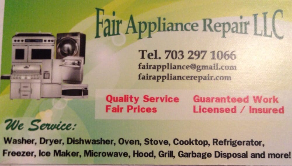 Fair Appliance Repair Business Card. - Yelp