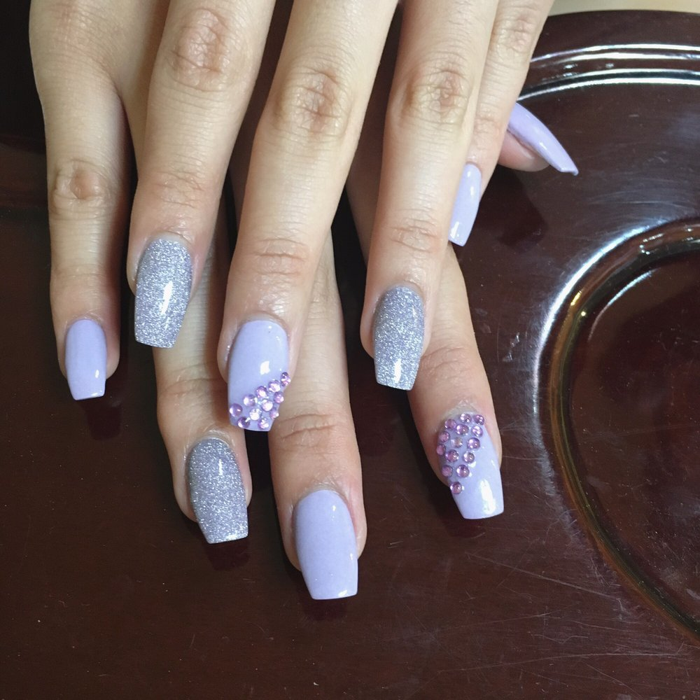 Nexgen nails with tips! #132 (purple glitter) and #46 (lavender) - Yelp