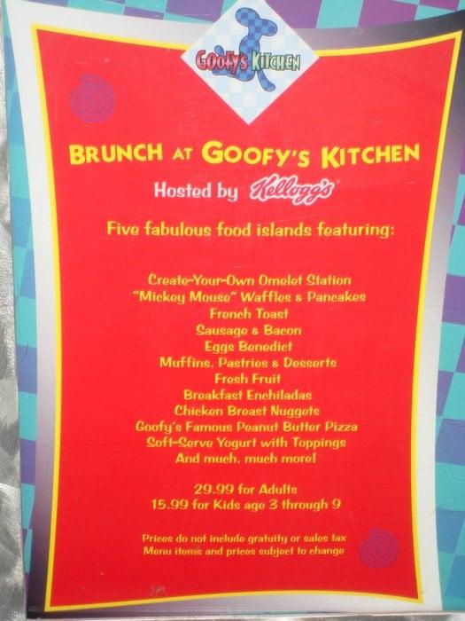 Goofy S Kitchen Dinner Prices