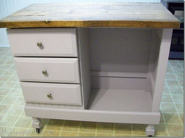 Repurposed Antique Dresser As A Kitchen Island With A: Repurpose Furniture: This Is An Old Dresser Turned Into An
