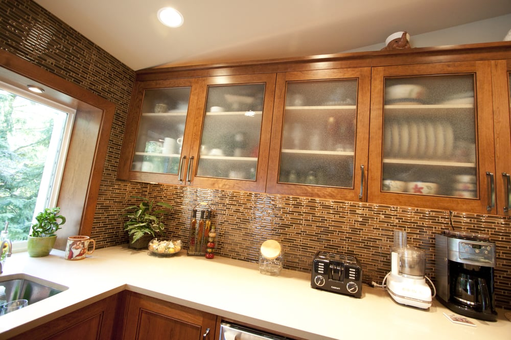 Custom Frosted Glass Door Style On Kitchen Upper Cabinets Yelp
