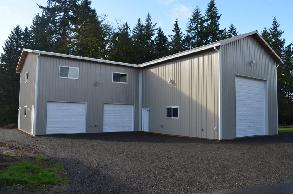 Rv storage garage with attached 2 story shop space and for Garages with apartments above them