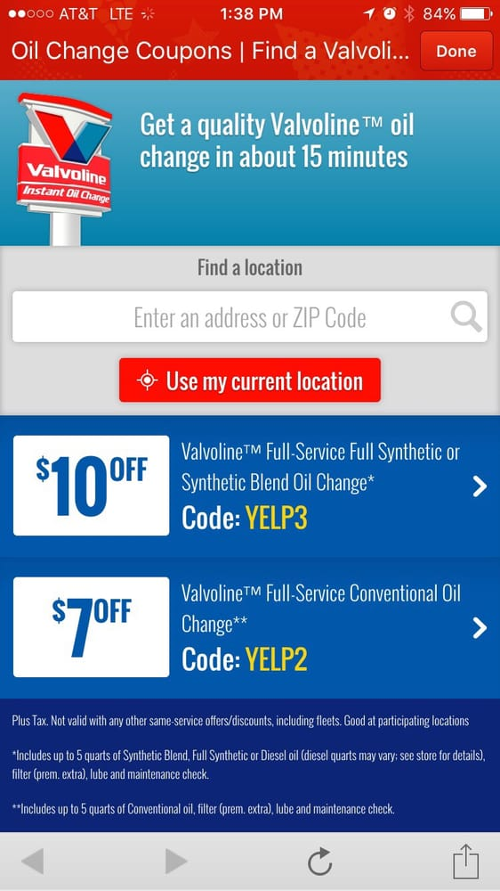 Valvoline coupons $10
