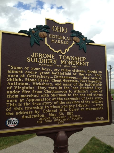 Jerome Township Soldier's Monument: 10055 Industrial Pkwy, Marysville, OH