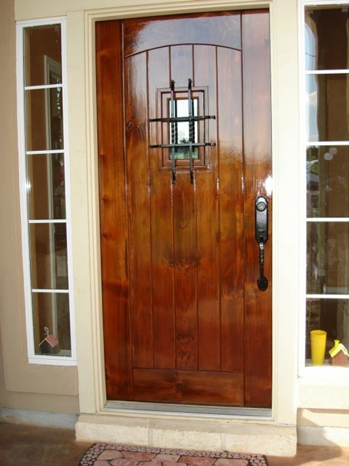 Front Door Alder Wood Refinish After English Chestnut