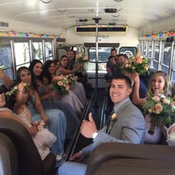 Photo Of Jump On The School Bus Santa Barbara Ca United States Wedding Party First Look Transportation