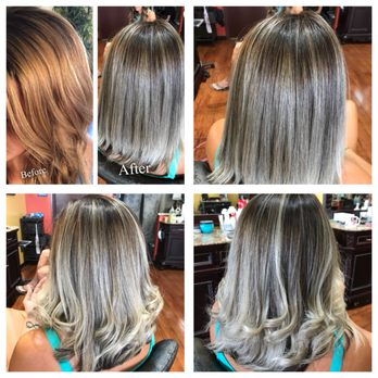 Icy Blonde Balayage Ombre Hair By Emily Yelp
