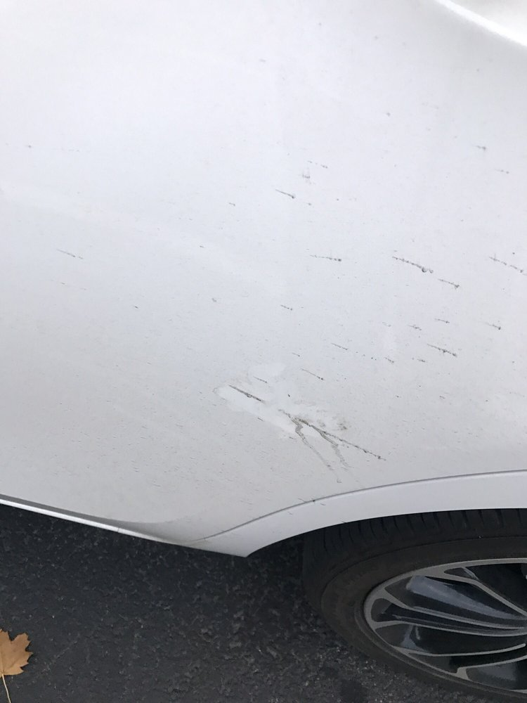Car scratches and dirt post stay  You can see where I wiped