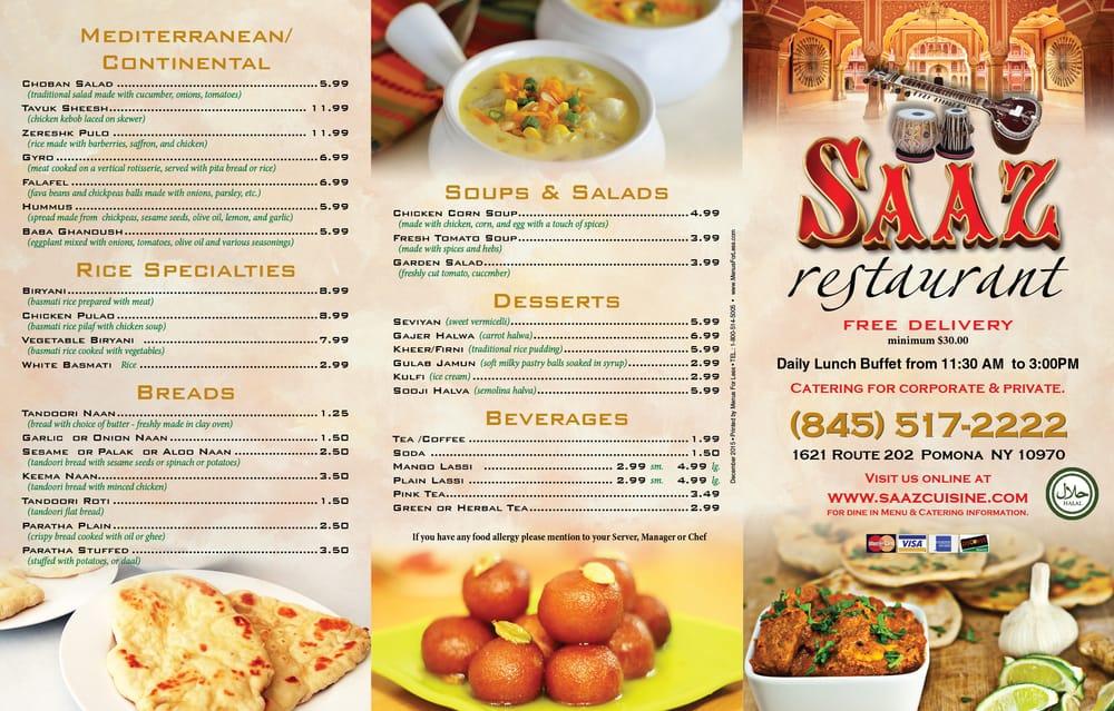 Saaz Indian Restaurant Pomona Ny