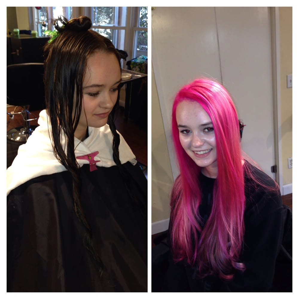Corrective Color Black Hair With Bluegreen Highlights To Hot Pink