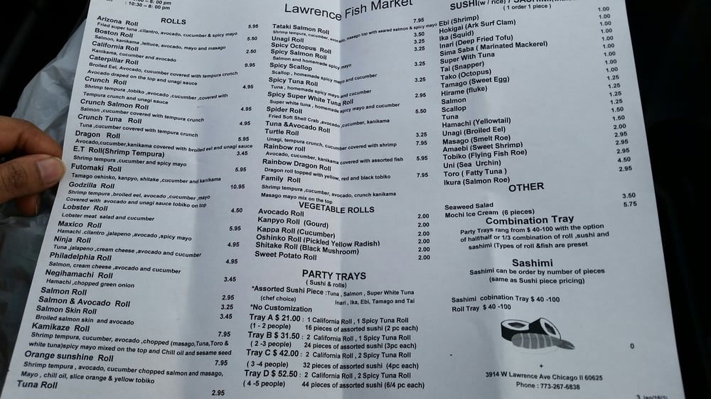 Menu as of 5 you are welcome yelp for Lawrence fish market
