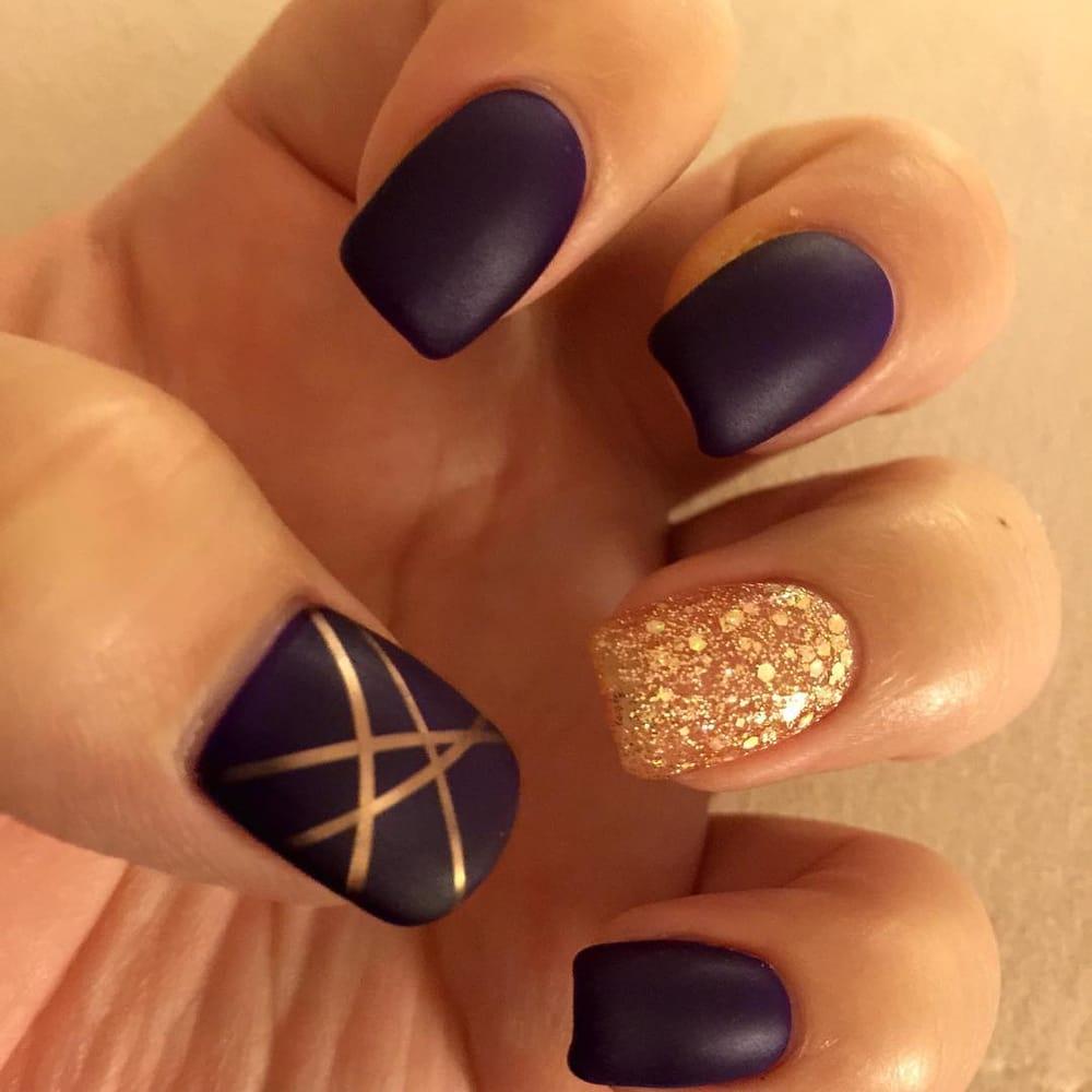 Matte dark purple, rose gold glitter, rose gold tape - Yelp