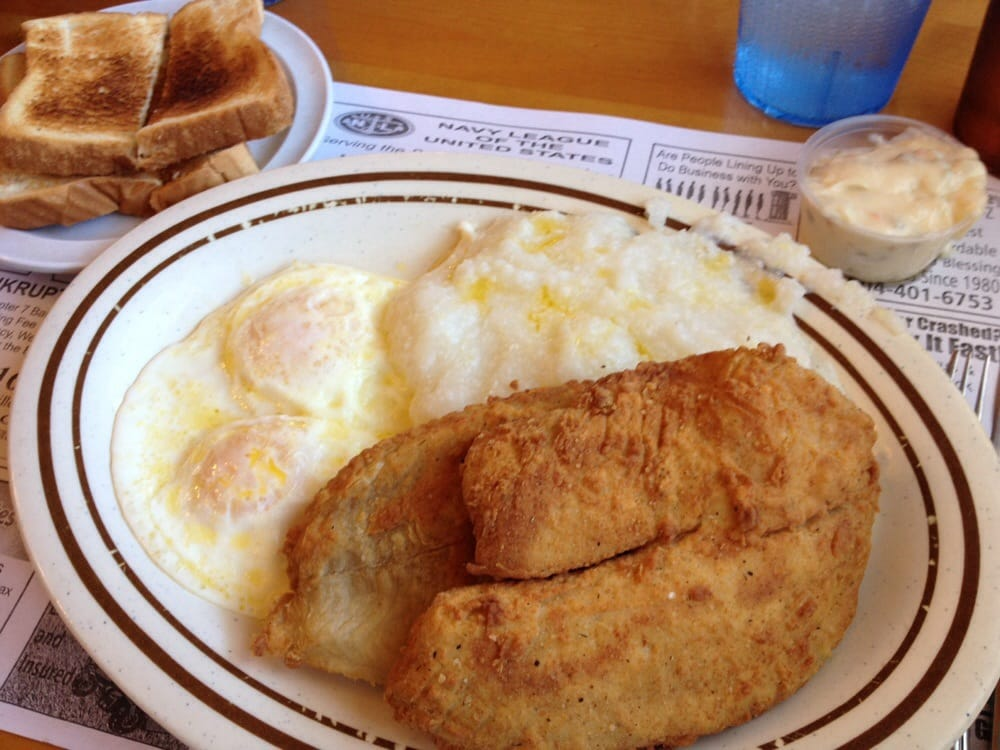 Fried fish breakfast with 2 eggs grits toast yelp for Fish and grits near me
