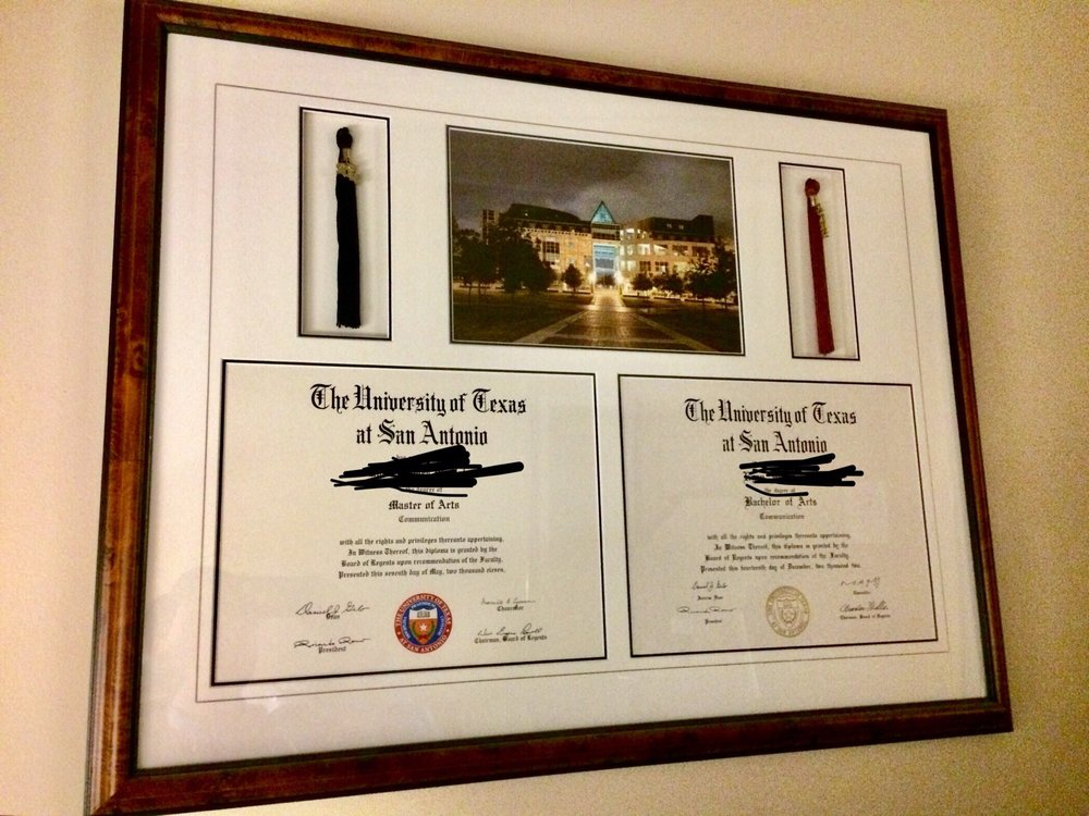 Framed diplomas. Note: I blurred out the last name to protect my ...