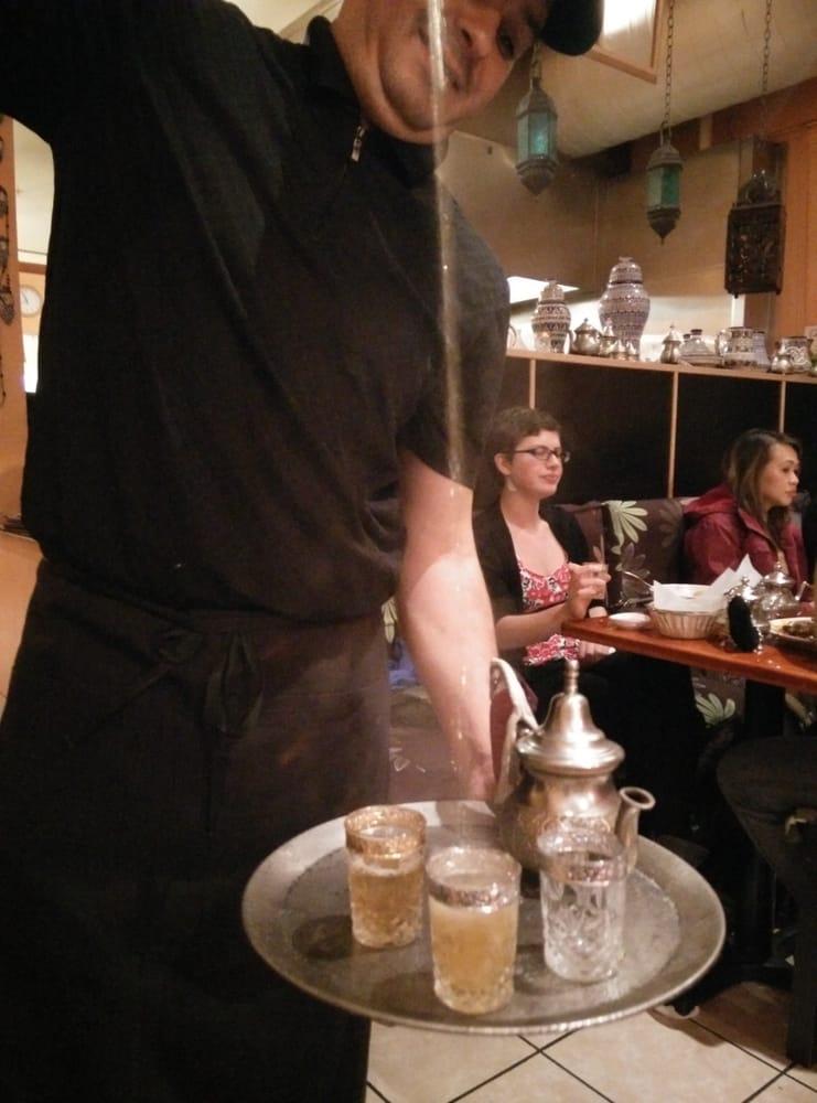 Mint tea pouring yelp for Aicha moroccan cuisine san francisco