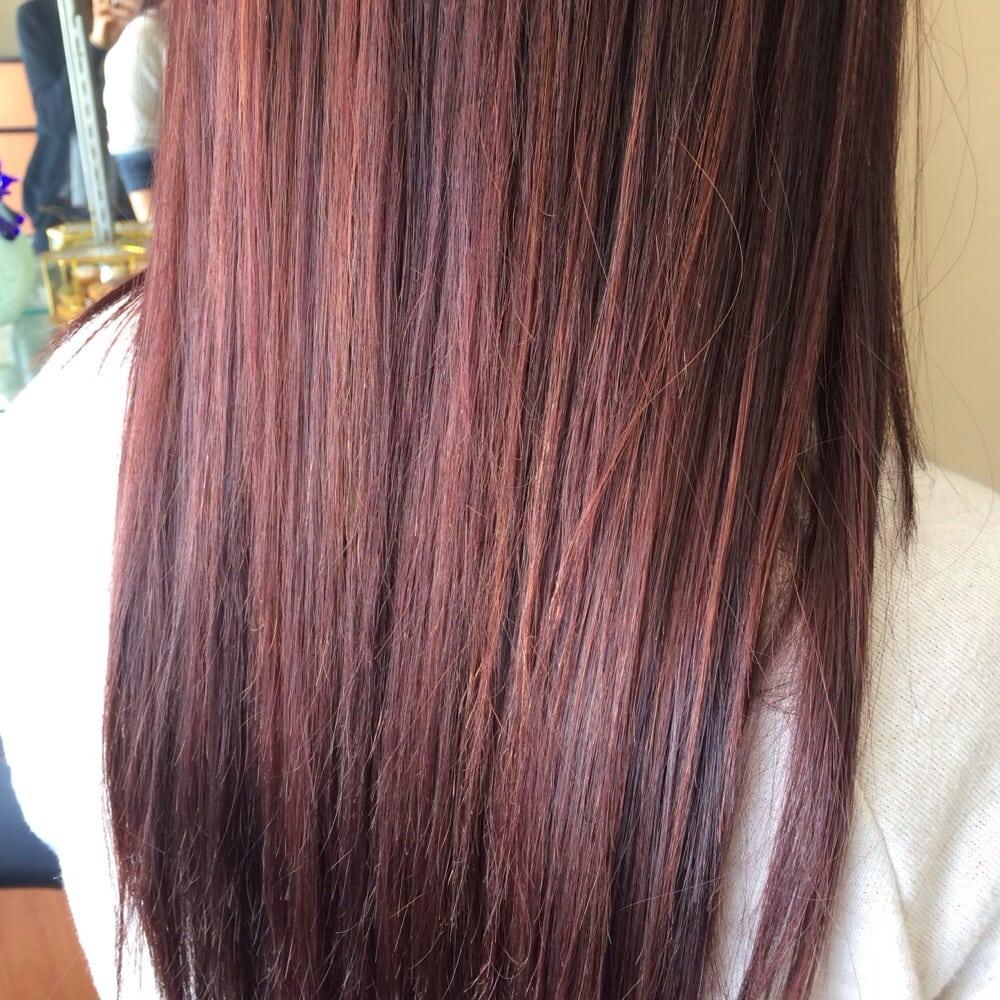 New Hair Color From Thoa Medium Burgundy Base And Medium Copper