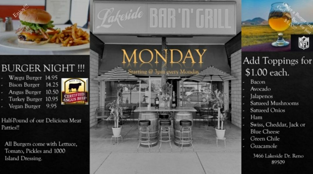 Lakeside Bar & Grill: 3466 Lakeside Dr, Reno, NV