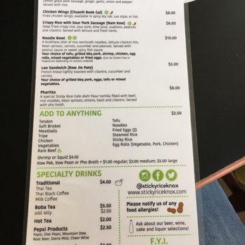 Sticky Rice Cafe Menu Knoxville