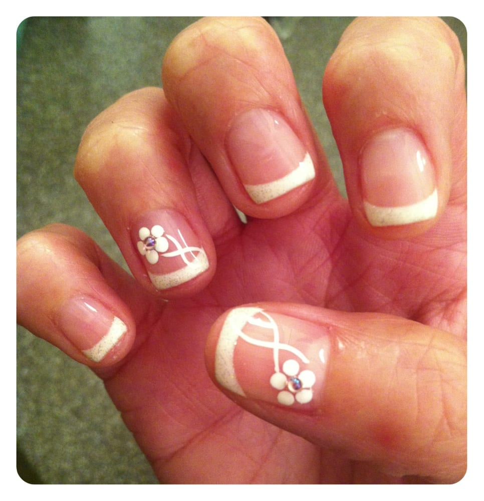 French Gel Manicure with Sparkly tips and amazing rhinestone flower ...