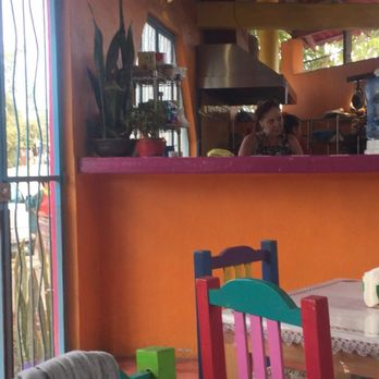 photo of blue corn mama cafe sayulita nayarit mexico colorfull decor with