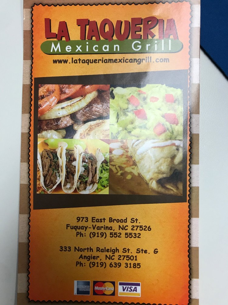La Taqueria Mexican Grill: 333 N Raleigh Rd, Angier, NC