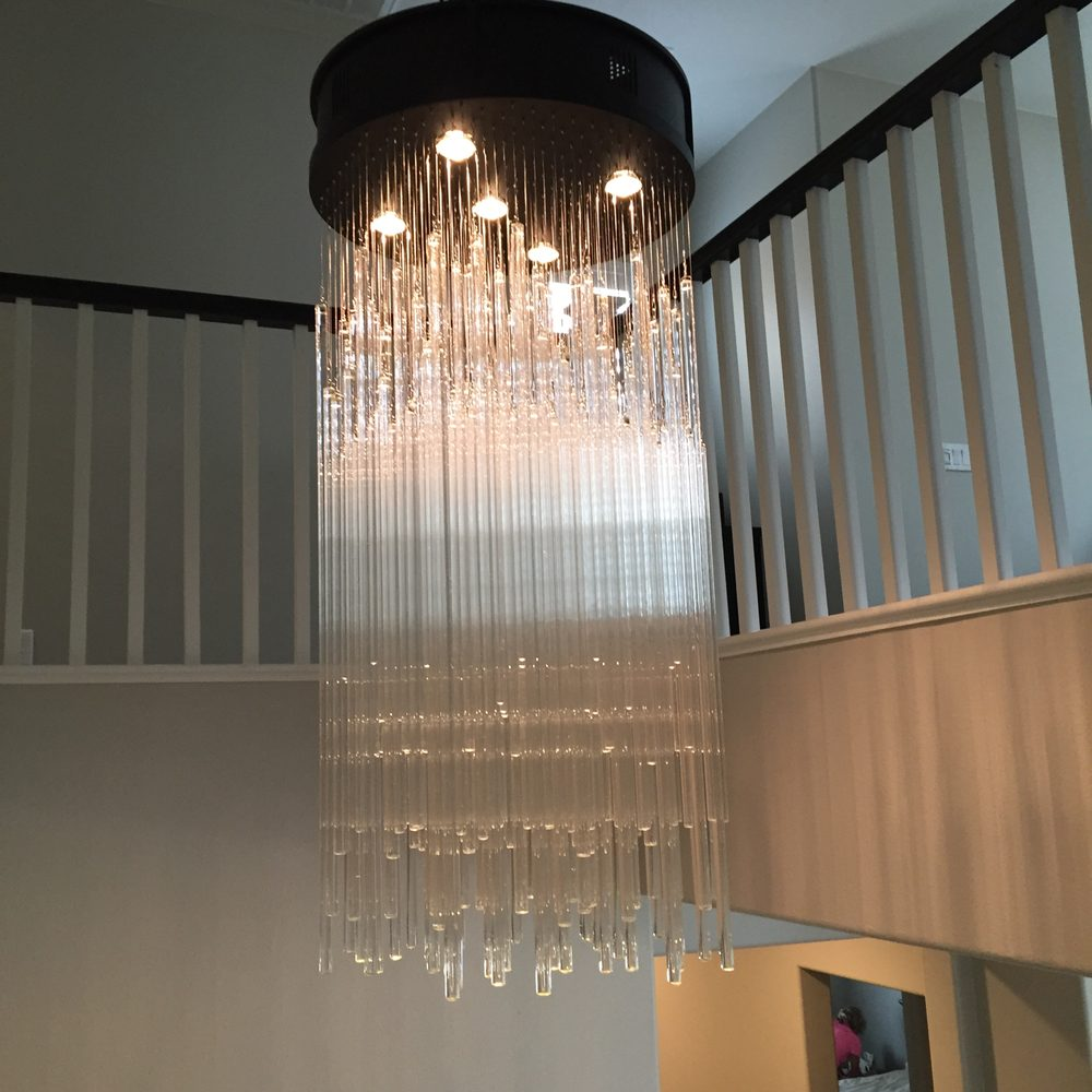 Rh modern rain chandelier 22 148lbs 150 glass rods yelp 360 photos for next level lighting electric arubaitofo Image collections