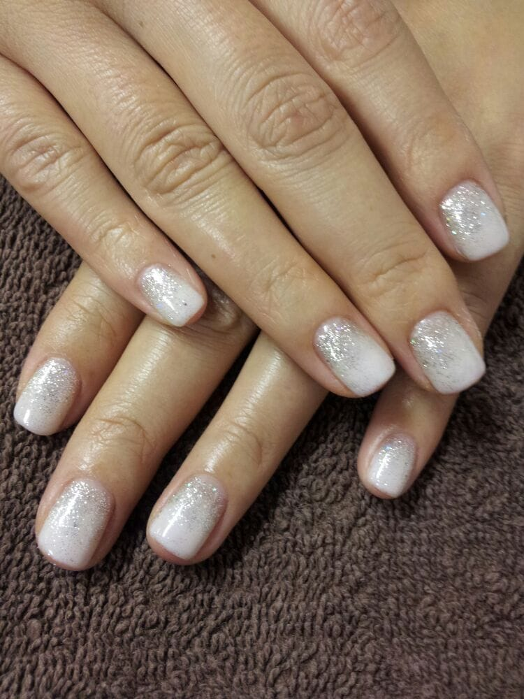 Magnificent White Nails With Glitter Ombre Composition - Nail Art ...