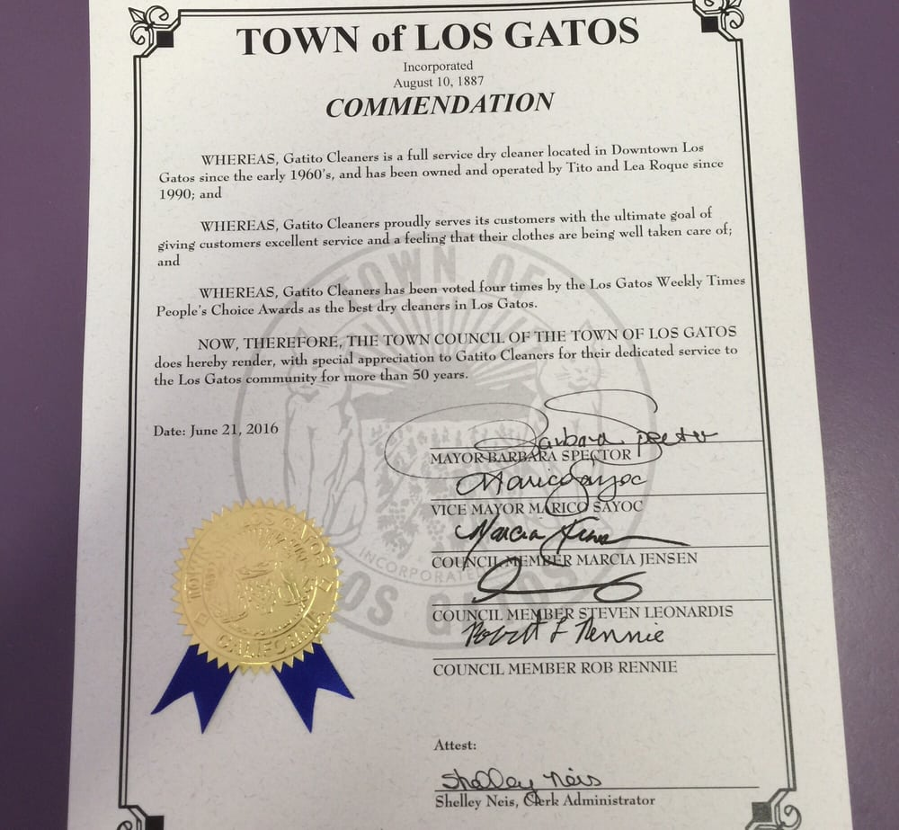 Gatito Cleaners Received A Town Of Los Gatos Commendation