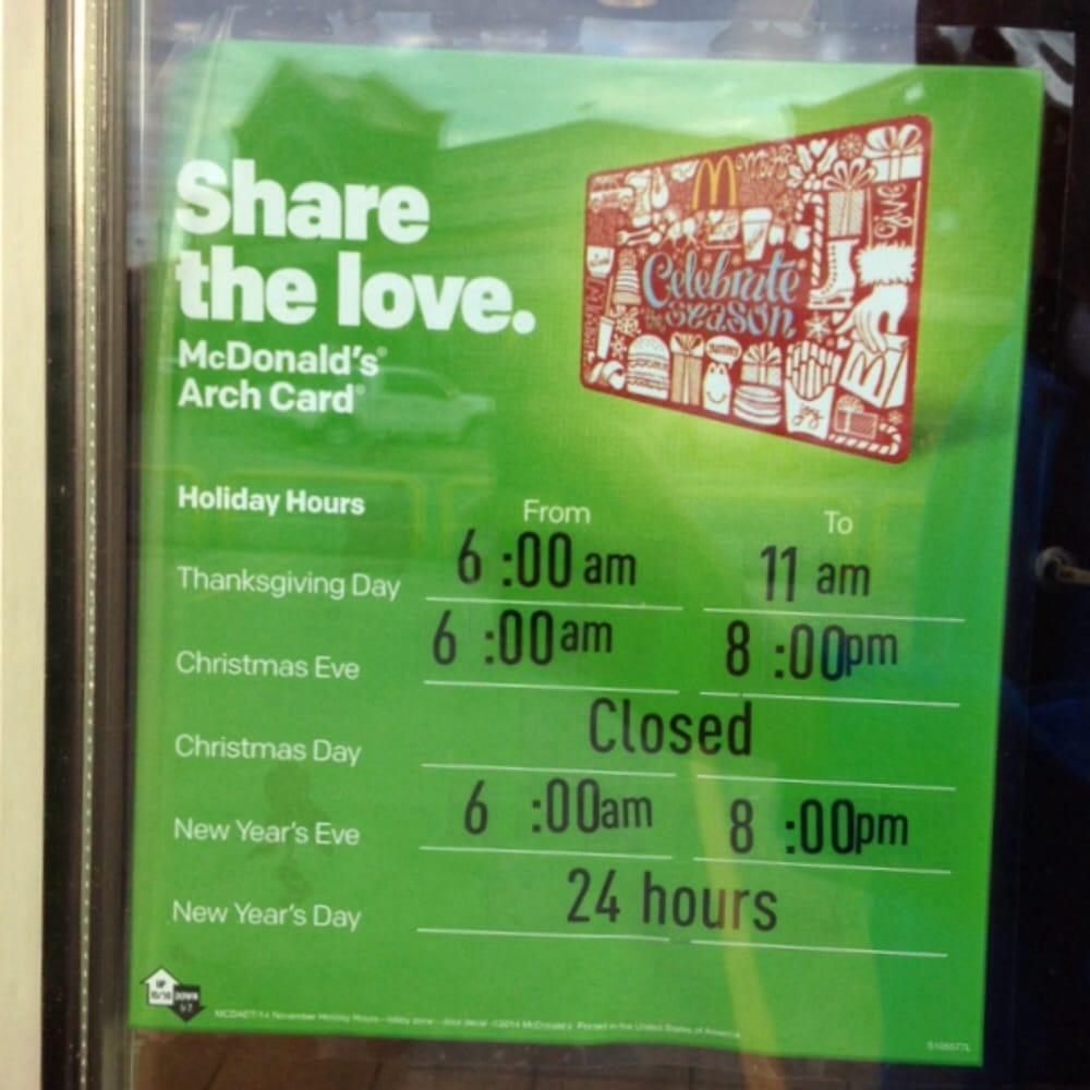 photo of mcdonalds houston tx united states holiday hours 2014 - Mcdonalds Open Christmas Day 2014