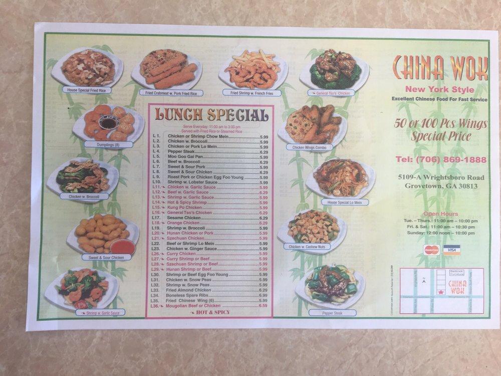 china wok menu  yelp