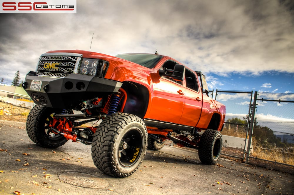custom one off gloss orange wrap on a lifted gmc truck for sema 2012 yelp. Black Bedroom Furniture Sets. Home Design Ideas