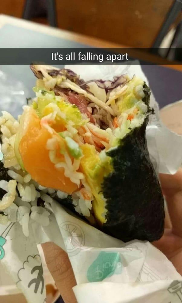 Sushi Burrito from SushiBurri falling apart