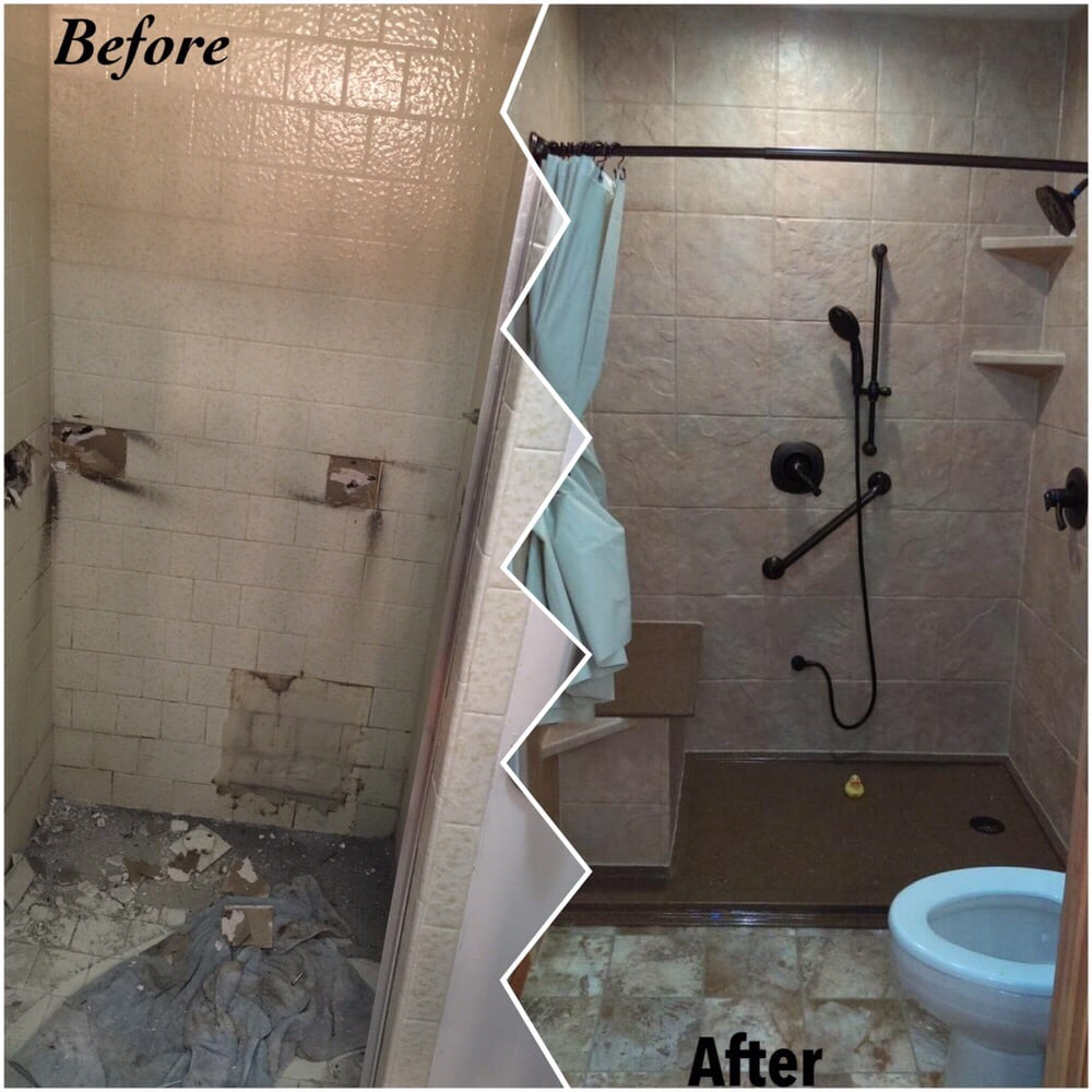 "Installing Hardwood Flooring In Bathroom: Rebath 12"" Slate Terrastone Shower Wall System With Custom"